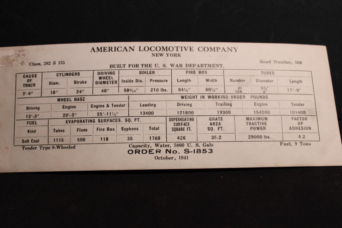 AMERICAN LOCOMOTIVE COMPANY OCTOBER 1941 BUILT FOR THE - 4