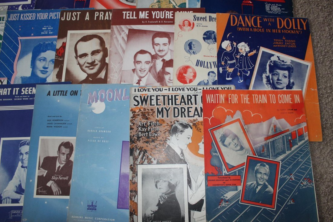 40 PIECES OF SHEET MUSIC SEVERAL WELL-KNOWN FACES GOOD - 2
