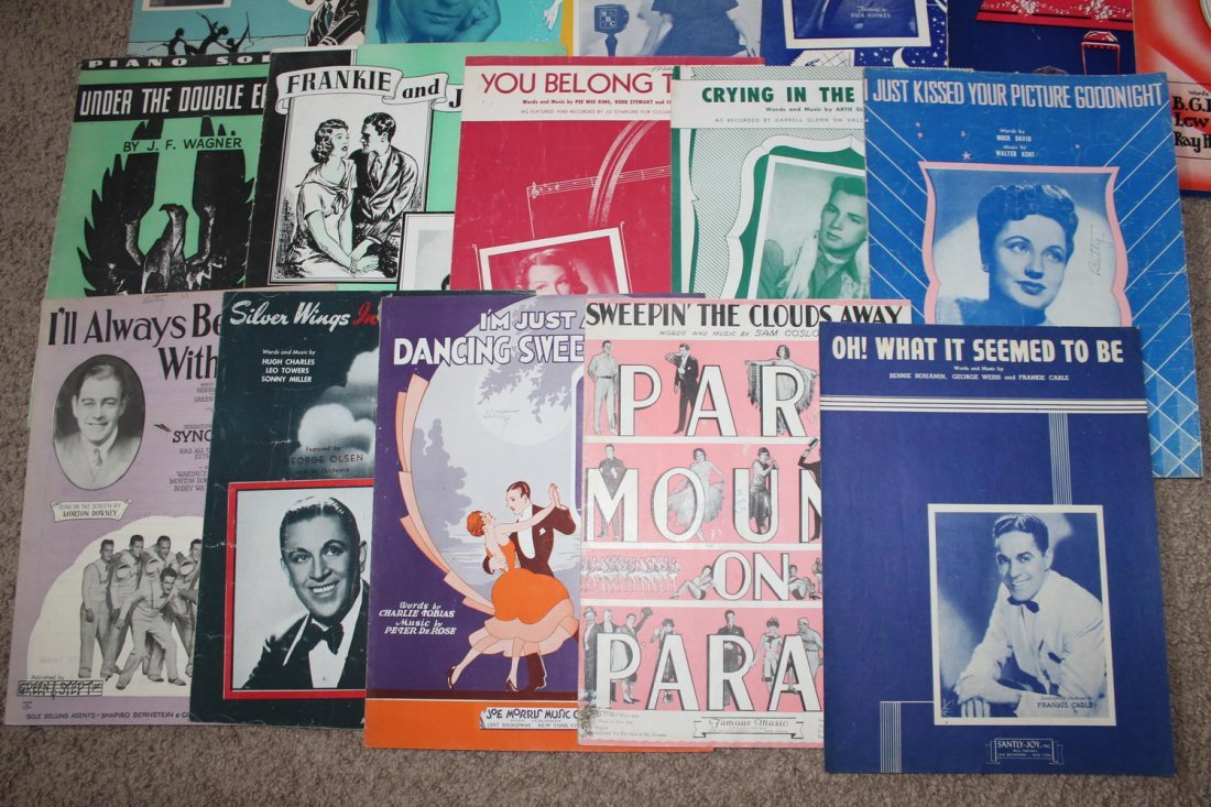 40 PIECES OF SHEET MUSIC SEVERAL WELL-KNOWN FACES GOOD - 3
