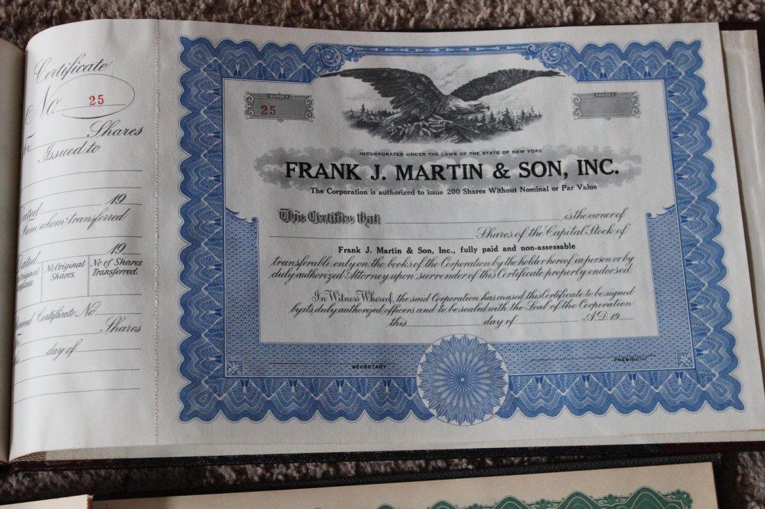 2 STOCK CERTIFICATES BOOKS - 1 FRANK J MARTIN & SON - 2