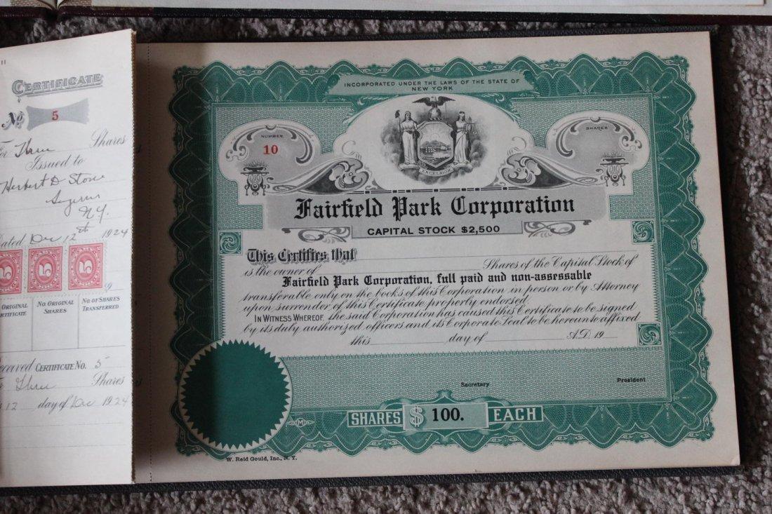 2 STOCK CERTIFICATES BOOKS - 1 FRANK J MARTIN & SON - 3