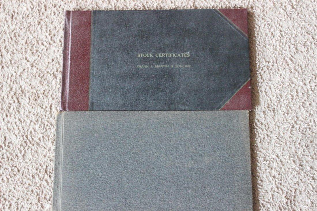 2 STOCK CERTIFICATES BOOKS - 1 FRANK J MARTIN & SON - 6