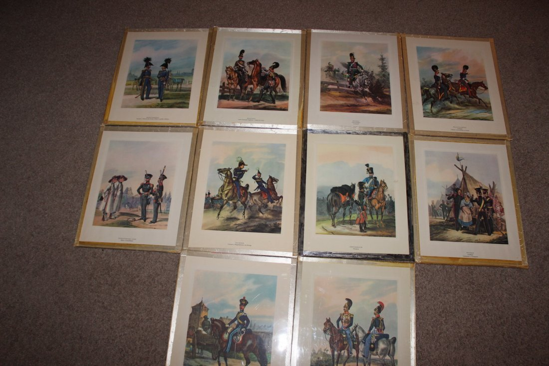 10 FRAMED MILITARY PLATES - VERY GOOD COND