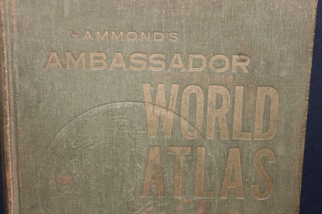 HAMMONDS AMBASSADOR WORLD ATLAS 1958 - COVER FADING -