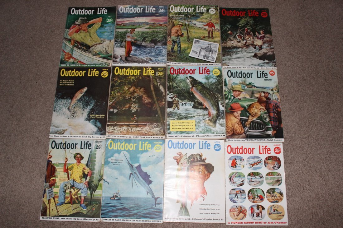 12 VERY GOOD ISSUES OF OUTDOOR LIFE 1954 ALL ON FISHING