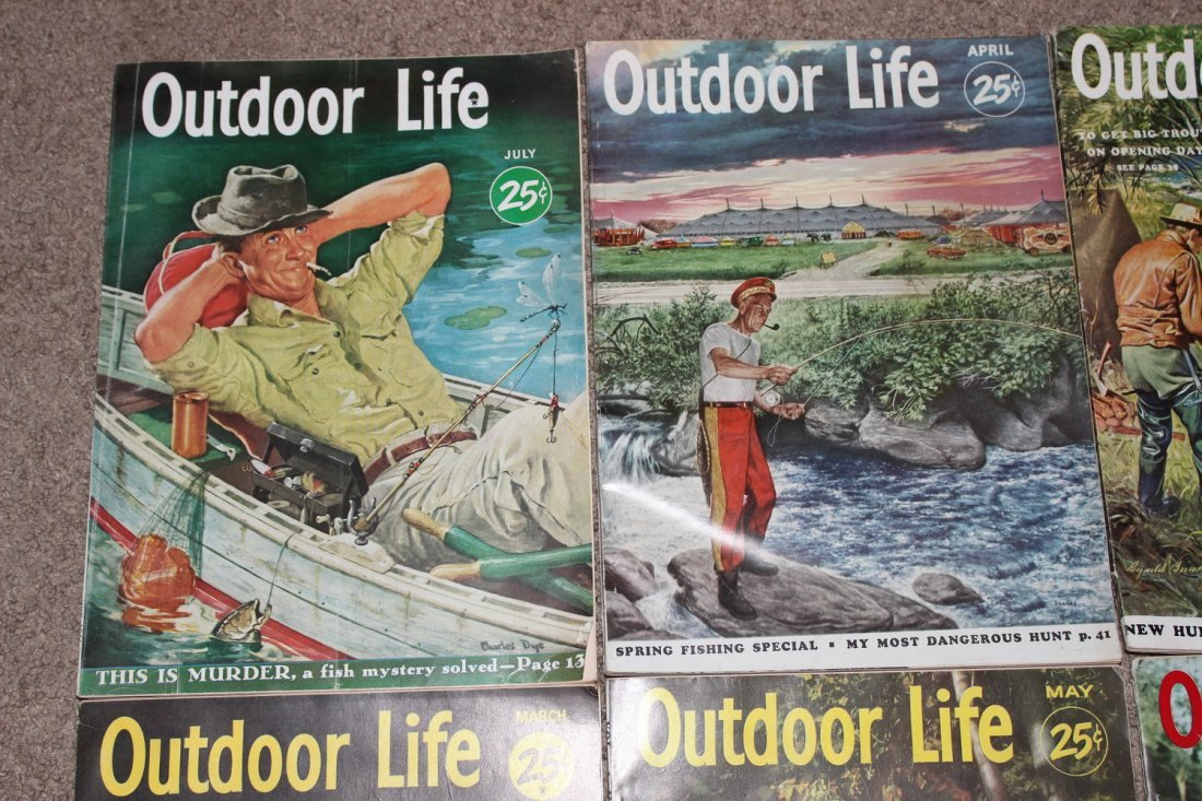 12 VERY GOOD ISSUES OF OUTDOOR LIFE 1954 ALL ON FISHING - 2