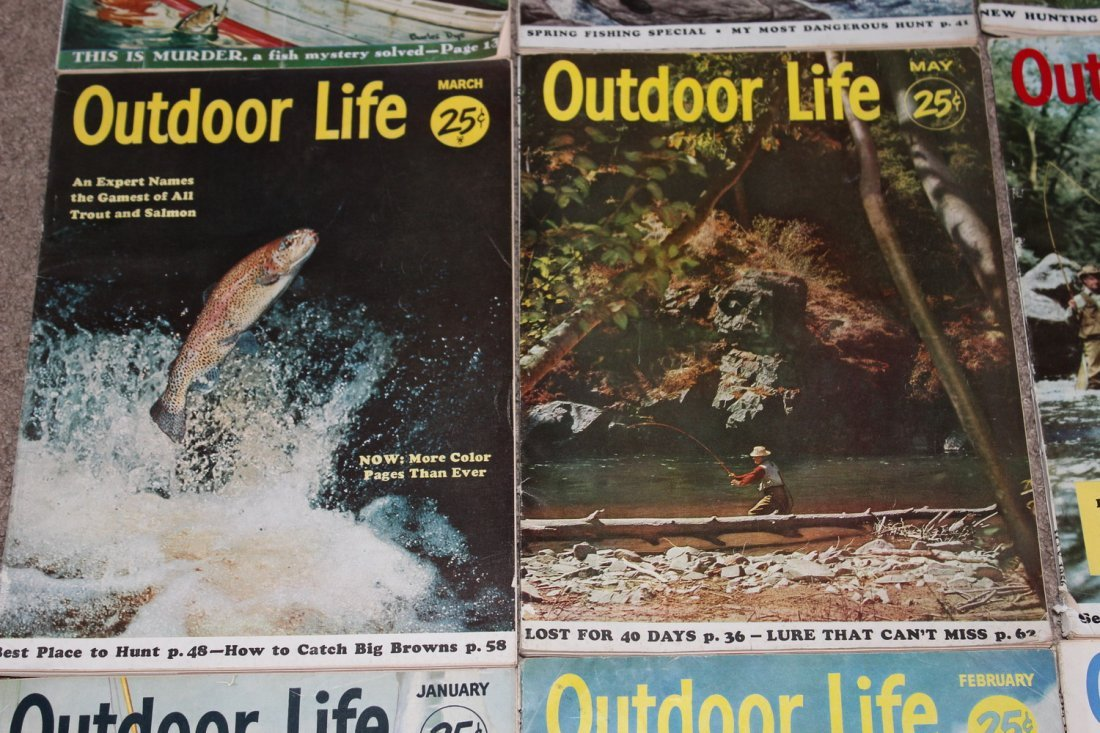 12 VERY GOOD ISSUES OF OUTDOOR LIFE 1954 ALL ON FISHING - 3