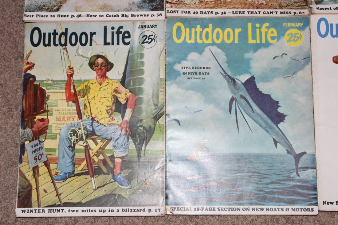 12 VERY GOOD ISSUES OF OUTDOOR LIFE 1954 ALL ON FISHING - 4
