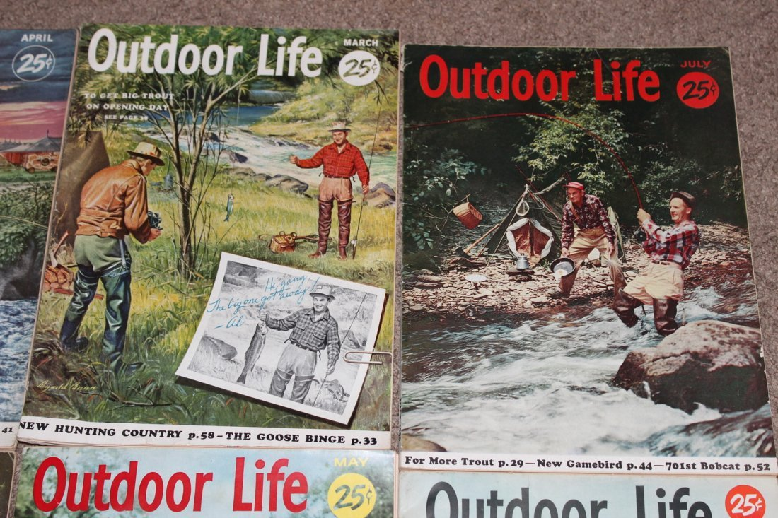 12 VERY GOOD ISSUES OF OUTDOOR LIFE 1954 ALL ON FISHING - 5
