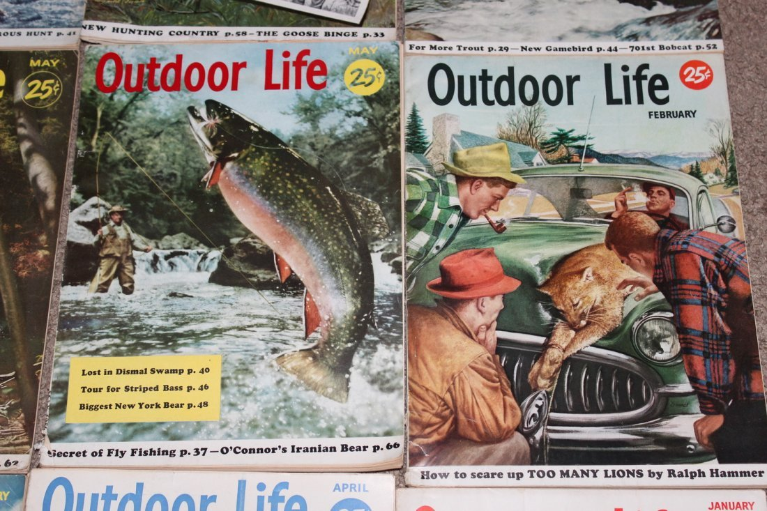 12 VERY GOOD ISSUES OF OUTDOOR LIFE 1954 ALL ON FISHING - 6