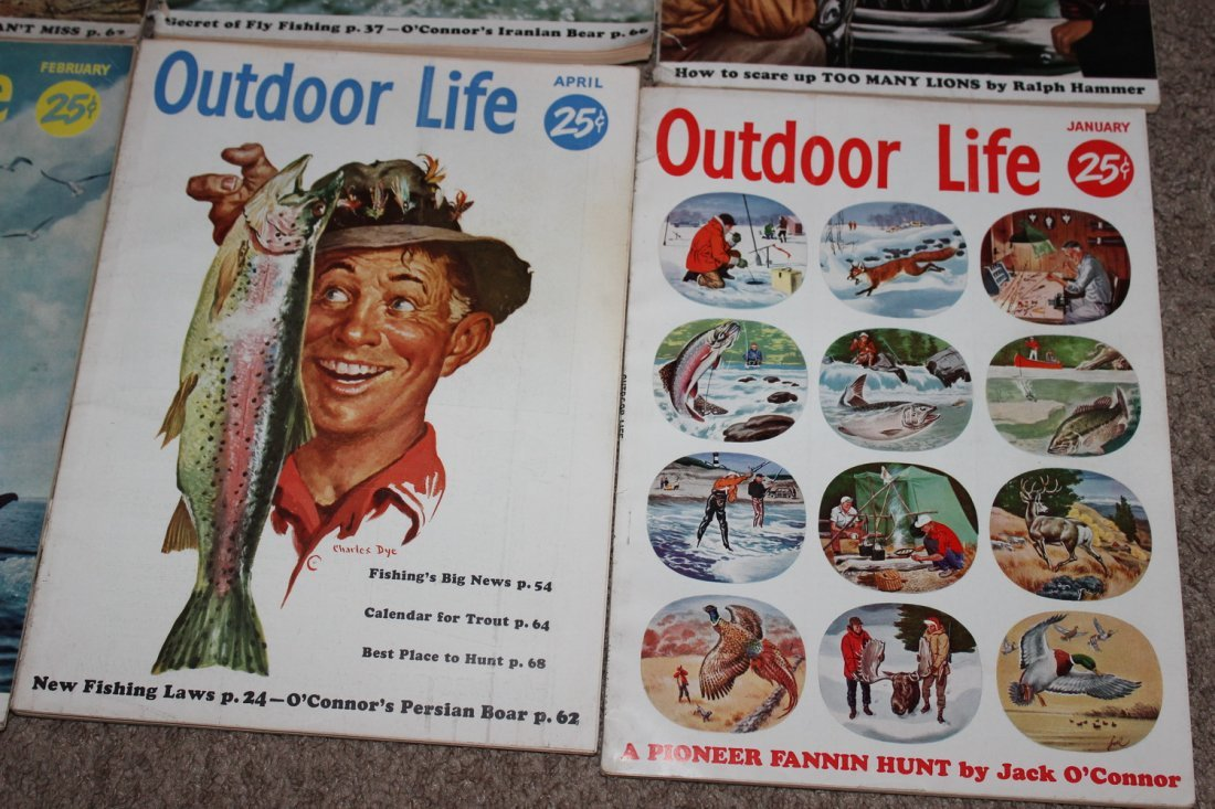 12 VERY GOOD ISSUES OF OUTDOOR LIFE 1954 ALL ON FISHING - 7