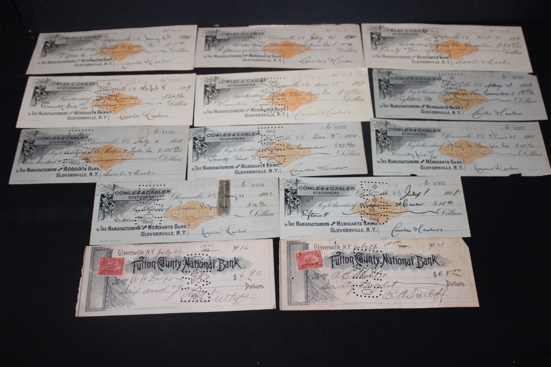 LOCAL INTEREST 13 LATE 1800S IN 1900S CASHED CHECKS