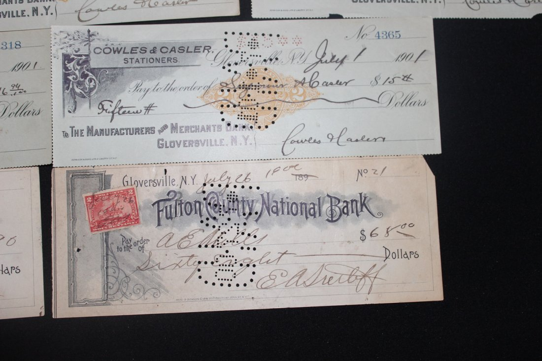 LOCAL INTEREST 13 LATE 1800S IN 1900S CASHED CHECKS - 4
