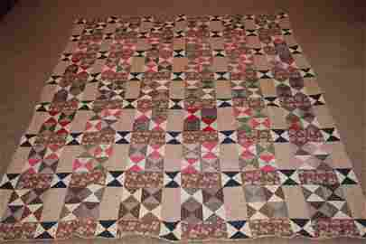 SUPER OLD QUILT WITH GREAT COLOR BLEND VERY GOOD