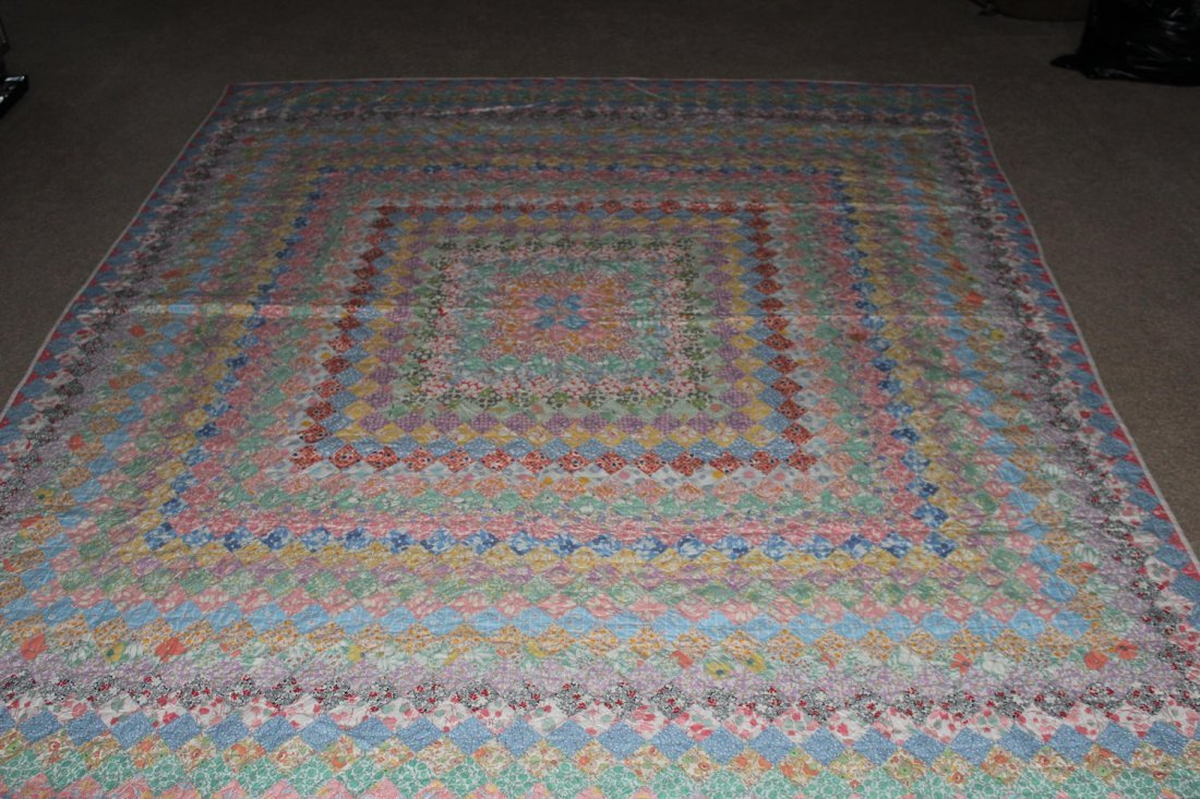 MARVELOUS FULL-SIZE OLD QUILT COLOR COMBINATIONS ARE