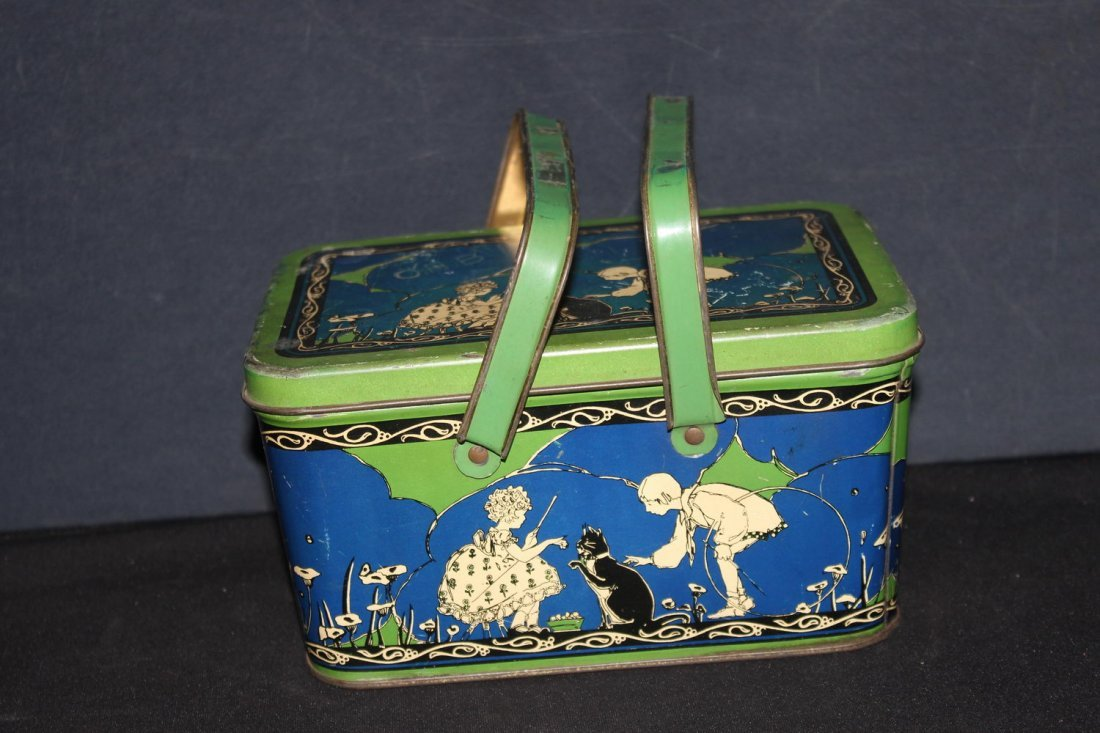 SUPER HIGHLY DECORATED CHILD'S METAL LUNCH PAIL WITH
