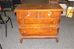 SMALL EMPIRE OAK SIDEBOARD W/ 2 SMALL OVER 2 LARGE