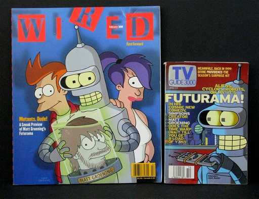 FUTURAMA LOT: WIRED MAGAZINE (Feb. 1999) & TV GUIDE