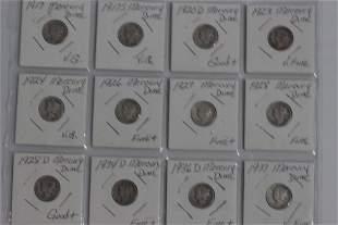 12 MERCURY HEAD DIMES – 1917 VG , 1917 S. VG ,1920 DG+