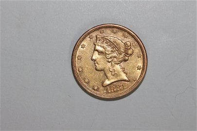 1881S LIBERTY HEAD FIVE DOLLAR GOLD COIN EX. FINE+