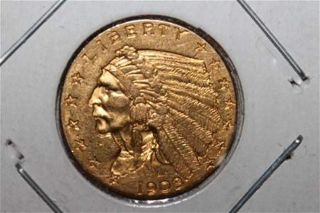 1908 - 1ST YEAR INDIANHEAD $2.50 GOLD COIN A.U.