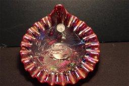 RARE 2001 FENTON RED CARNIVAL GLASS ASSOC. WOODLAND