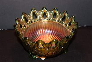 BEAUTIFUL EARLY CARNIVAL FOOTED BOWL WITH OPEN LACE TOP