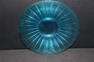 "NICE BLUE STRETCH GLASS 9.5"" PLATE MINT"