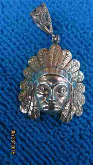 LARGE 10K INDIAN PENDANT - GREAT DETAIL WITH ORNATE 10K