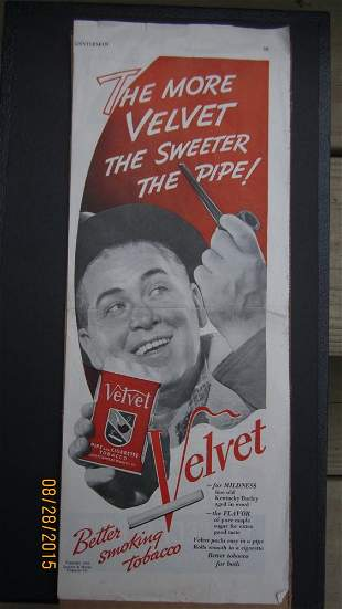 VINTAGE VELVET SMOKING TOBACCO ADVERTISING WITH MINT