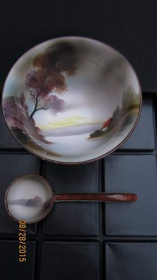 NORITAKE HAND-PAINTED SCENIC PEDESTAL BOWL WITH LADLE