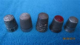 5 ORNATE STERLING THIMBLES SOLD ALL ONE WAY