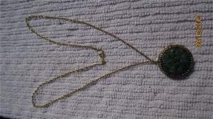 GREAT 14K YELLOW GOLD NECKLACE WITH JADE PENDANT - BOTH