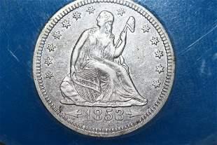 1853 LIBERTY SEATED QUARTER EXTRA FINE+