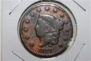 1827 LARGE CENT VERY GOOD