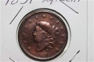 1831 LARGE CENT EX. FINE - A.U.