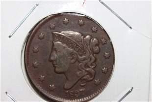 1837 LARGE CENT FINE