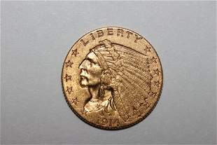 1914D INDIANHEAD $2.50 GOLD COIN A. UNC.