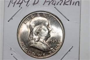 1949D FRANKLIN HALF-DOLLAR B.U. W/ MINT LUSTER LIGHT
