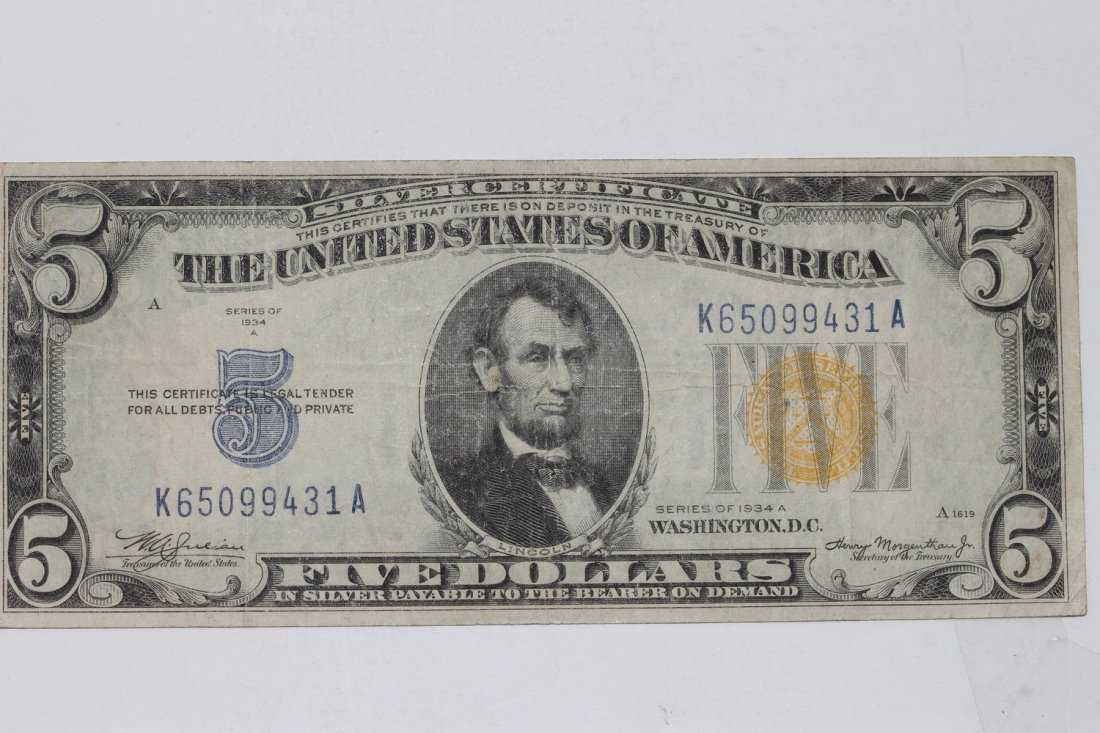 1934 A Series Silver Certificate Gold Seal Five Dollar