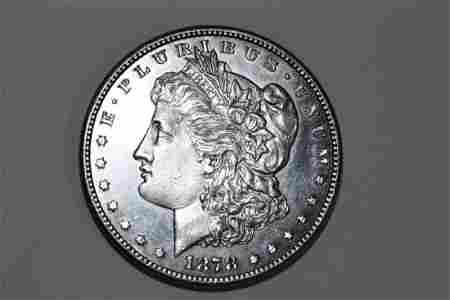 1878S MORGAN DOLLAR B.U. RARE PROOF LIKE (MIRROR BACK