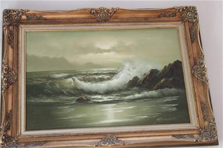 LARGE SIGNED OIL PAINTING - THE OCEAN TIDE