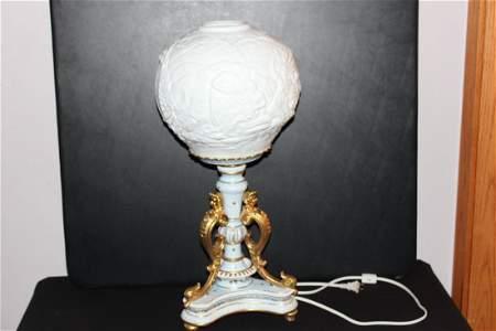 FANTASTIC FRENCH PORCELAIN SERVES LAMP W/ MASSIVE