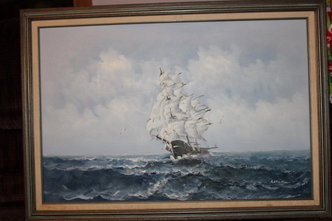 OIL ON CANVAS OF OLD SAIL SHIP - GREAT DETAIL - SIGNED