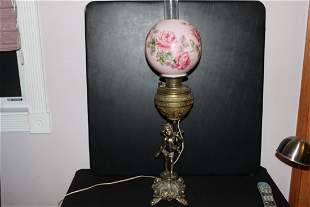 SUPER FIGURAL BANQUET LAMP WITH FLORAL HAND PAINTED