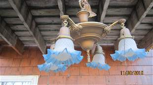 GREAT DECO HANGING LIGHT FIXTURE WITH 4 BLUE QUILTED