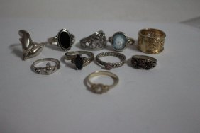 10 Assorted Sterling Silver Rings Sizes 4-10
