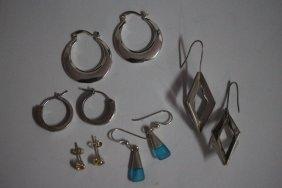 5 Pair Sterling Silver Earrings