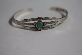 Child's Turquoise Sterling Silver Bracelet With Native