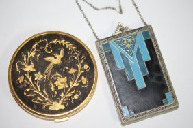 2 Vintage Compacts - 1 Art Deco - 1 Bird And Floral